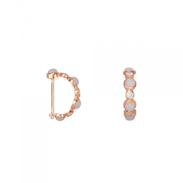 Marelle à Marbella, boucles d'oreille mini créoles, cabochons d'opale rose, diamants blancs, or rose