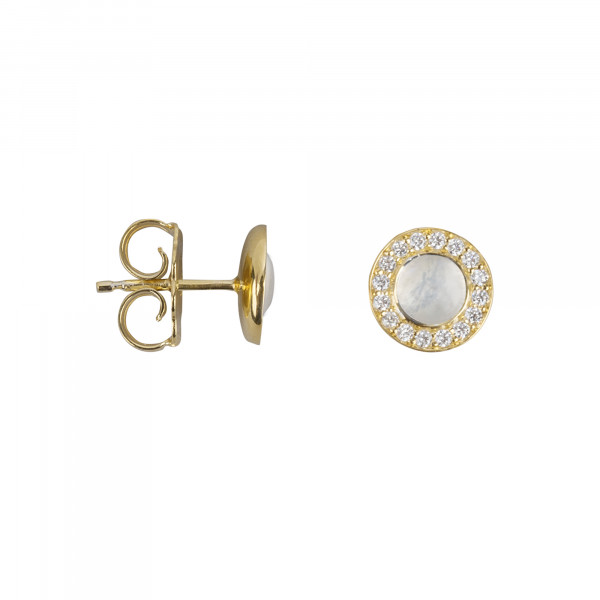 Marelle à Marbella, boucles d'oreille puces, cabochon de pierre de lune, diamants blancs, or jaune