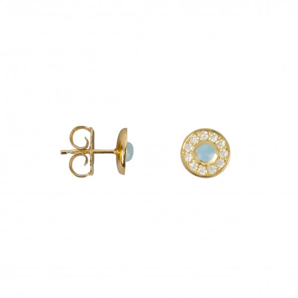 Marelle à Marbella, boucles d'oreille puces, petit cabochon Aigue-Marine Milky, diamants blancs, or jaune