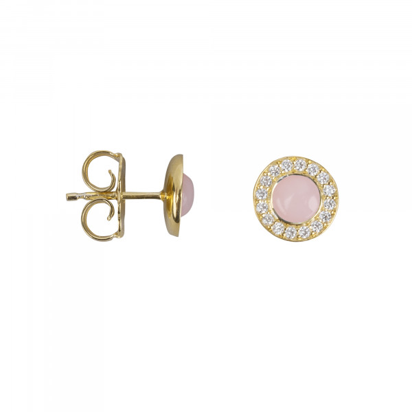 Marelle à Marbella, boucles d'oreille puces, cabochon d'opale rose, diamants blancs, or jaune