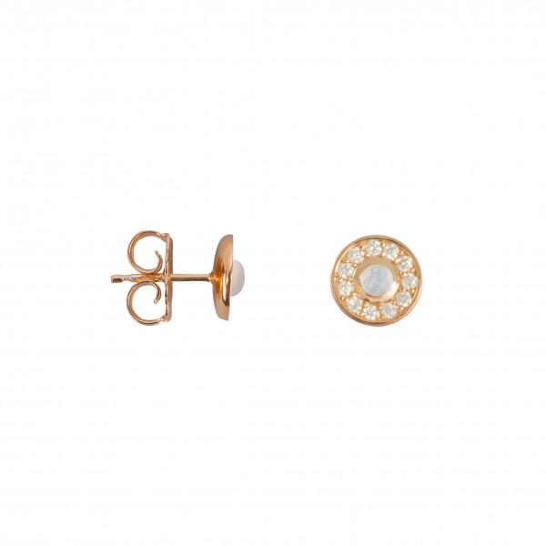 Marelle à Marbella, boucles d'oreille puces, petit cabochon Pierre de Lune, diamants blancs, or rose