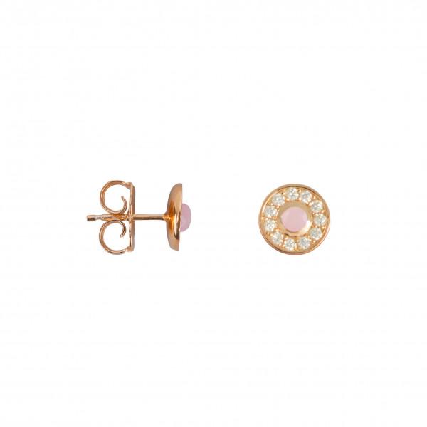 Marelle à Marbella, boucles d'oreille puces, petit cabochon Opale Rose, diamants blancs, or rose