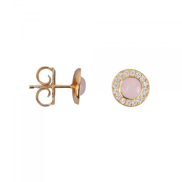 Marelle à Marbella, boucles d'oreille puces, cabochon d'opale rose, diamants blancs, or rose