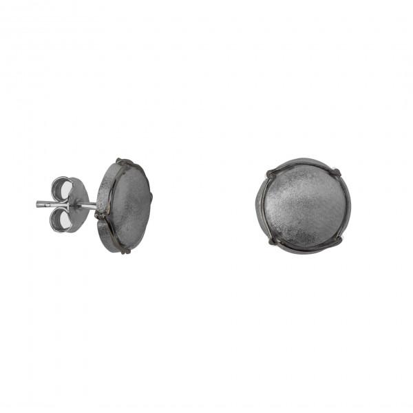 Champ ! Boucles d'oreilles puces mini capsules satinées argent massif rhodié noir