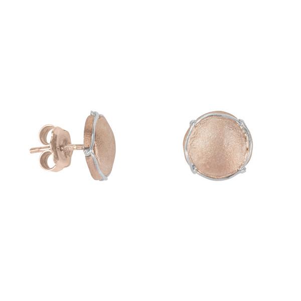 Champ ! Boucles d'oreilles puces, mini capsules satinées argent massif plaqué or rose, muselet argent massif rhodié blanc