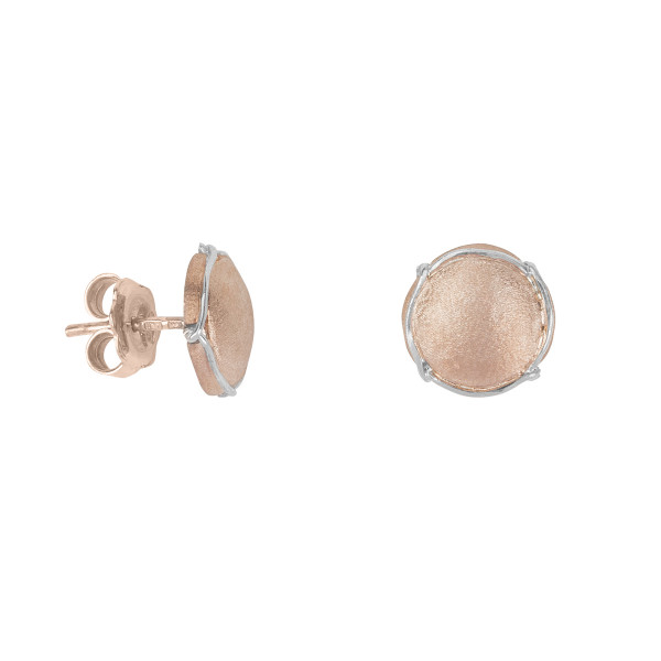 Champ boucles d'oreille puces, mini capsules satinées or rose, muselet or blanc