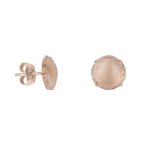 Champ!, boucles d'oreille puces, mini capsules, or rose satiné, muselet or rose, 18 kt,