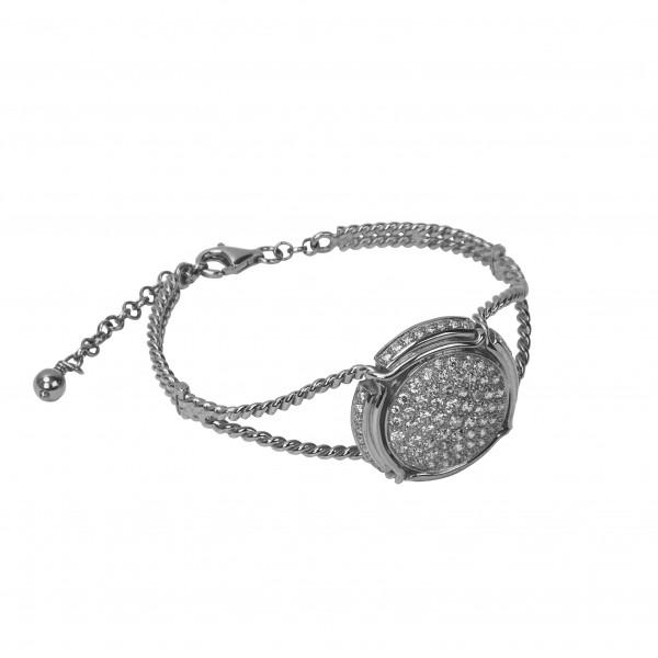 Champ ! Bracelet manchette torsadée, capsule pavée de diamants blancs, anneau torsadé, or blanc