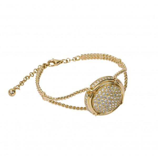 Champ !, Bracelet, manchette torsadée, or jaune, capsule, pavage diamants blancs,