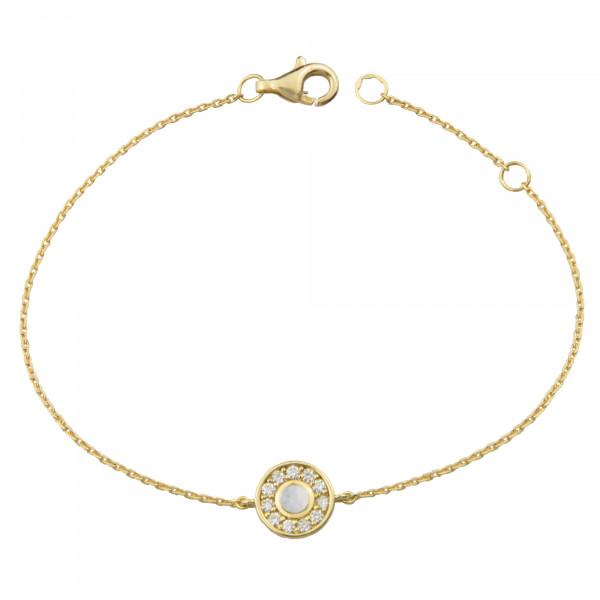 Marelle à Marbella, bracelet chaîne, petit cabochon Pierre de Lune, diamants blancs, or jaune