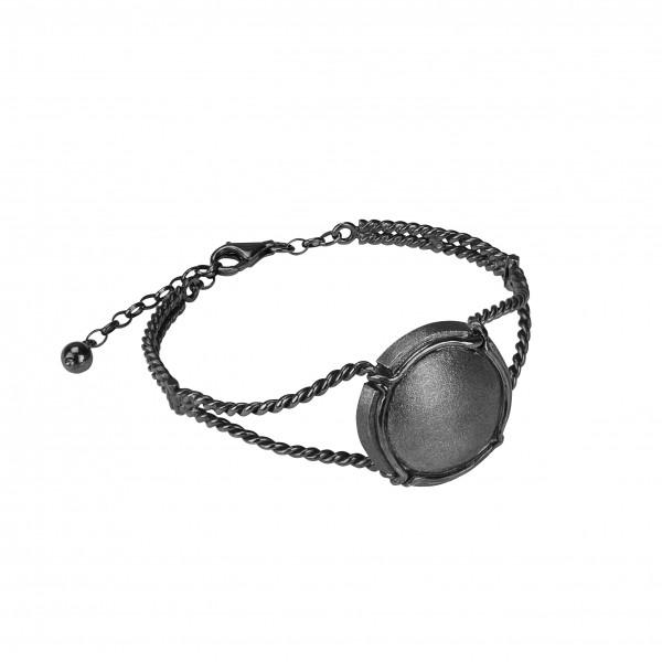 Champ bracelet manchette torsadée capsule satinée, argent massif rhodié noir (Taille M)