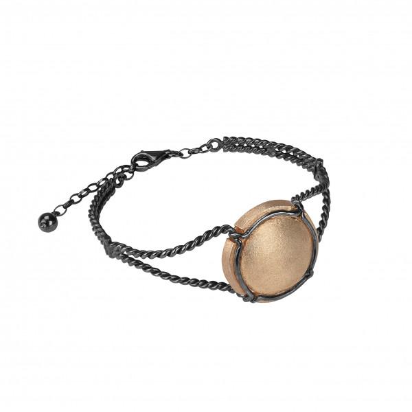 Champ !, bracelet, manchette torsadée, capsule satinée, argent massif plaqué or rose, muselet et bracelet argent massif rhodié noir, (Taille M)