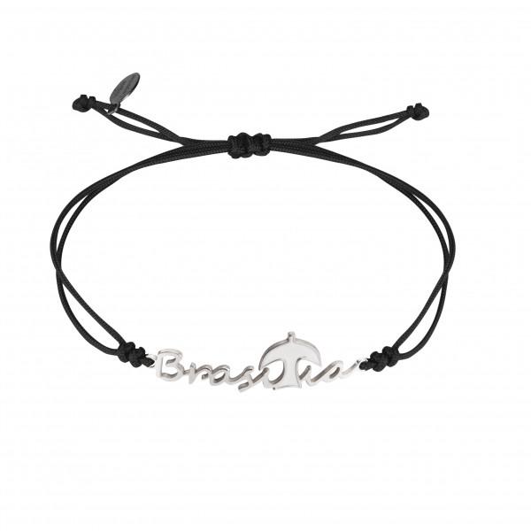 Globe-Trotter, bracelet Brasilia, argent massif, rhodié blanc, cordon nylon,