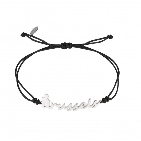 Globe-Trotter, bracelet Brussels (Bruxelles), argent massif, rhodié blanc, cordon nylon,