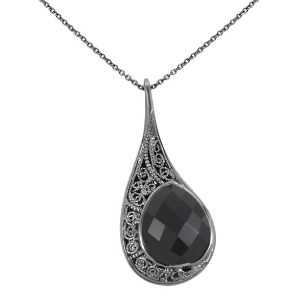La larme du Crocodile' collier chaîne, pendentif filigrane argent massif rhodié noir, onyx facetté taille poire