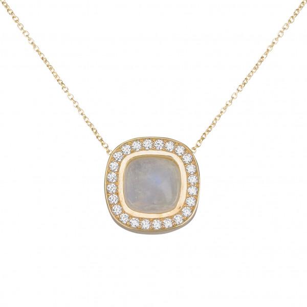 Marelle à Marbella, collier chaîne, pendentif pierre de lune, taille cabochon coussin, diamants blancs, or jaune