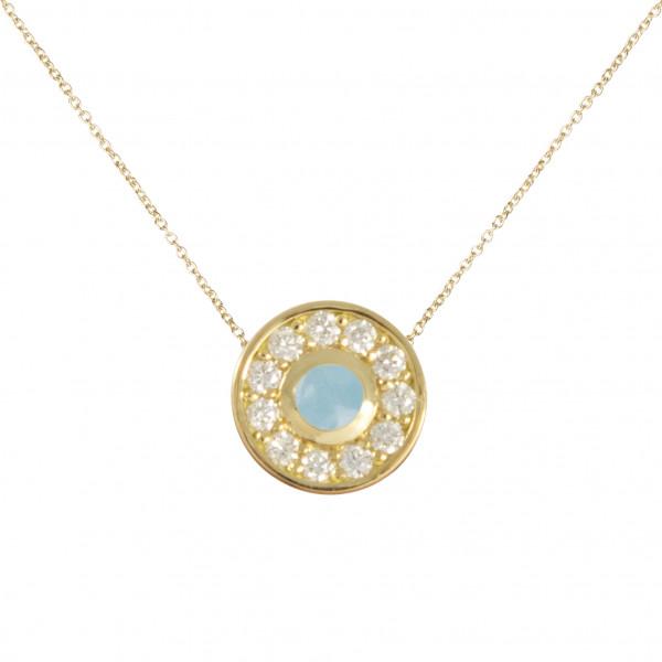 """""""Marelle à Marbella"""", collier chaîne, pendentif, petit cabochon rond,  Aigue-Marine bleue Milky, diamants blancs, or jaune,"""