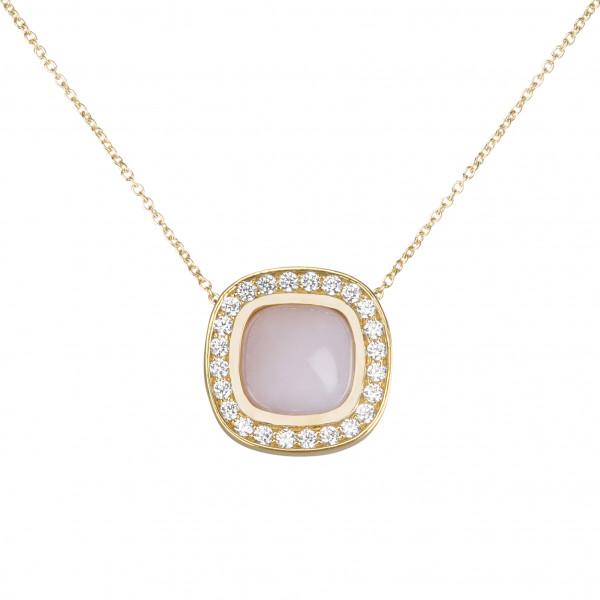 Marelle à Marbella, collier chaîne, pendentif opale rose, taille cabochon coussin, diamants blancs, or jaune