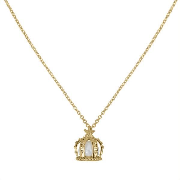 Princesse Tipois, collier chaîne, pendentif couronne, or jaune, perle d'eau douce