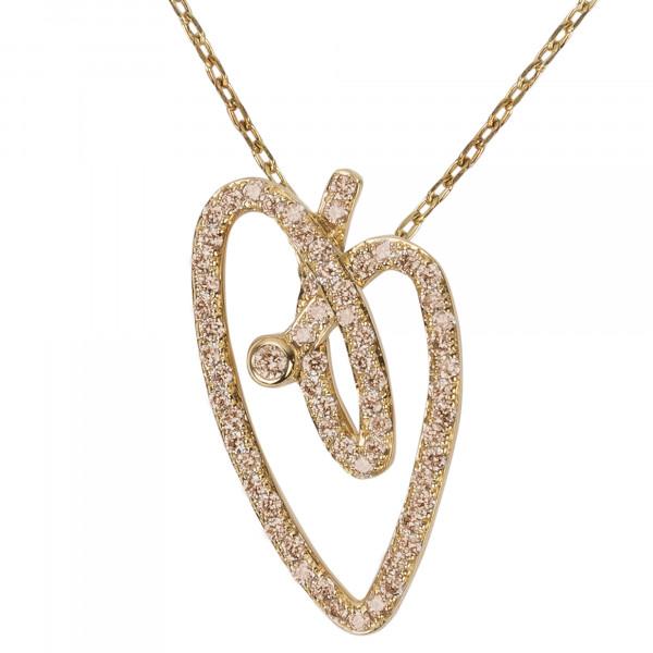 Joli Cœur collier, chaîne ras-de-cou, pendentif cœur, or jaune, pavage diamants Champagne,