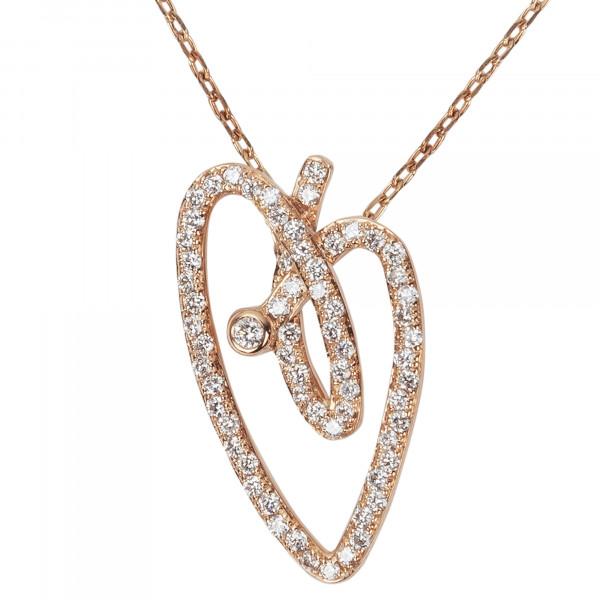 Joli Cœur collier, chaîne ras-de-cou, pendentif cœur, or rose, pavage diamants blancs,