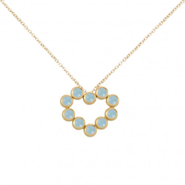 Marelle à Marbella, collier chaîne, pendentif coeur, Aigues-Marines bleues Milky, taille cabochon, or jaune