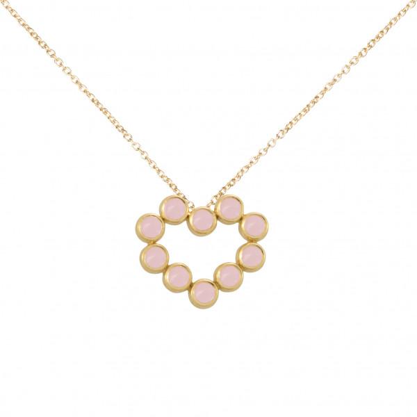 Marelle à Marbella, collier chaîne, pendentif coeur, Opales roses, taille cabochon, or jaune