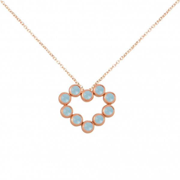"""""""Marelle à Marbella"""", collier chaîne, pendentif cœur, Aigues-Marines bleues Milky, taille cabochon, or rose,"""