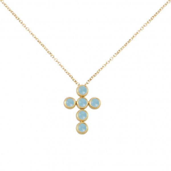 Marelle à Marbella, collier chaîne, pendentif croix, Aigues-Marines bleues Milky, taille cabochon, or jaune