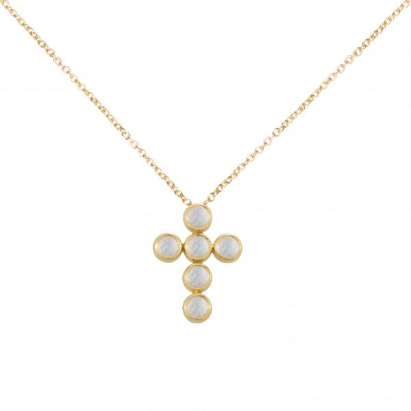 Marelle à Marbella, collier chaîne, pendentif croix, Pierres de Lune, taille cabochon, or jaune