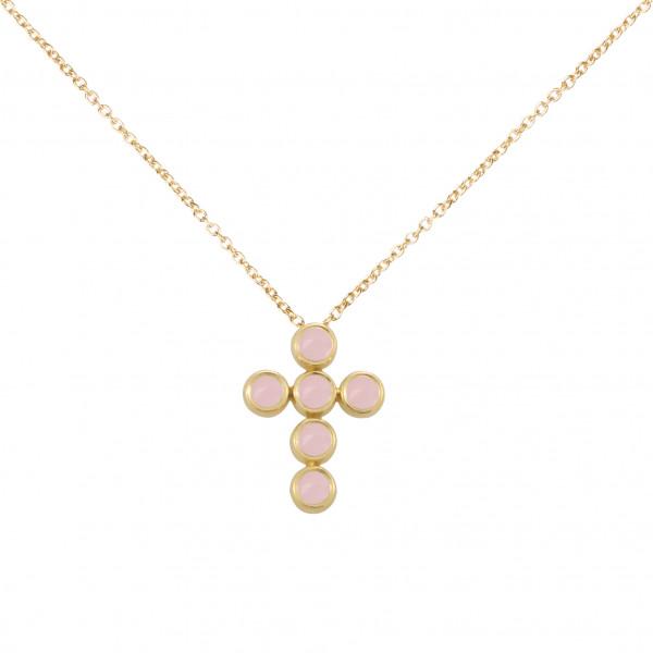 Marelle à Marbella, collier chaîne, pendentif croix, Opales roses, taille cabochon, or jaune