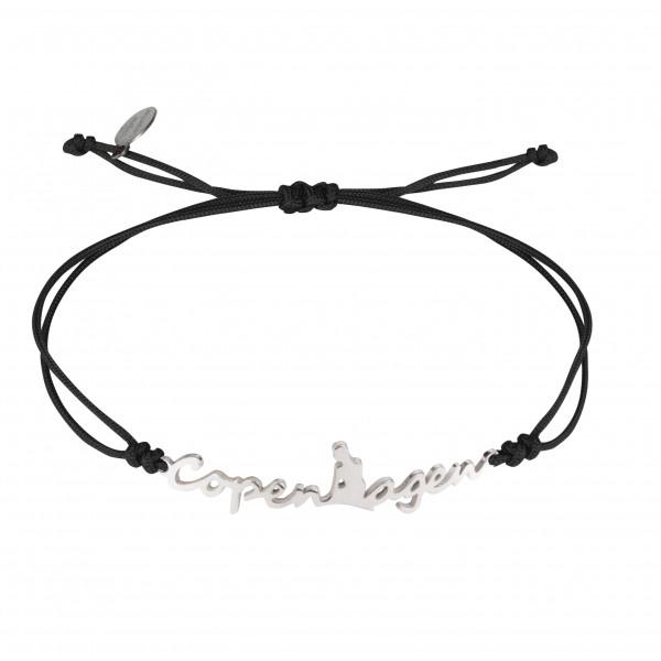 Globe-Trotter, bracelet Copenhagen (Copenhague), argent massif, rhodié blanc, cordon nylon,
