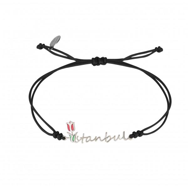 Globe-Trotter, bracelet Istambul, argent massif, rhodié blanc, cordon nylon,