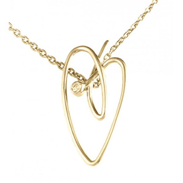 Joli Cœur collier, chaîne ras-de-cou, pendentif cœur, or jaune, diamant blanc,