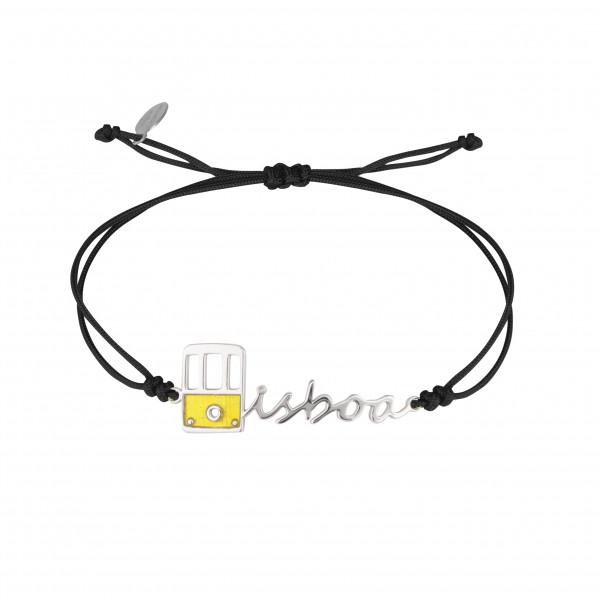 Globe-Trotter, bracelet Lisbon (Lisbonne), argent massif, rhodié blanc, cordon nylon,