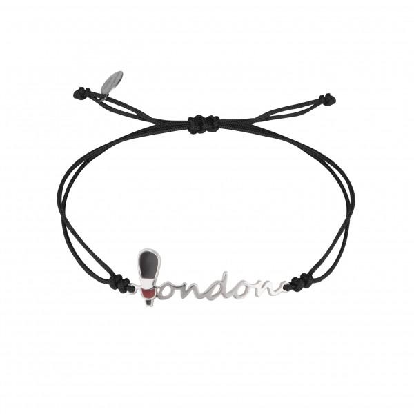 Globe-Trotter, bracelet London (Londres), argent massif, rhodié blanc, cordon nylon,