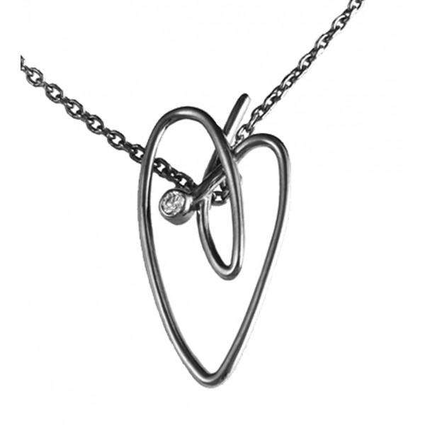 Joli Cœur collier, chaîne ras-de-cou, pendentif cœur, or blanc, rhodié noir, diamant blanc,