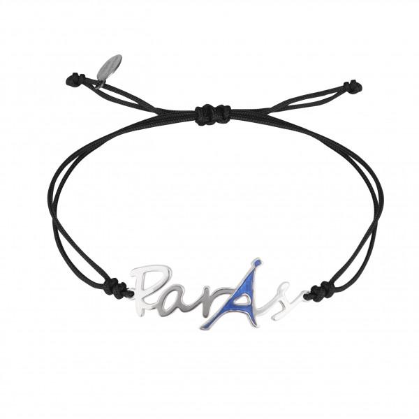 Globe-Trotter, bracelet Paris, argent massif, rhodié blanc, cordon nylon,
