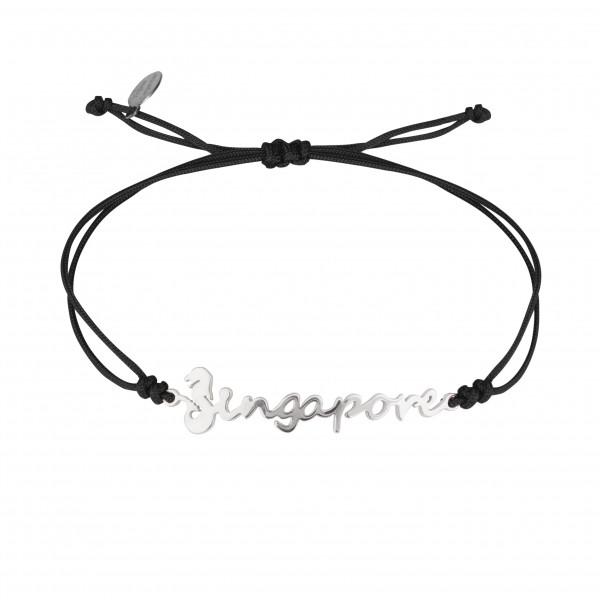 Globe-Trotter, bracelet Singapore (Singapour), argent massif, rhodié blanc, cordon nylon,