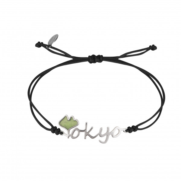 Globe-Trotter, bracelet Tokyo, argent massif, rhodié blanc, cordon nylon,