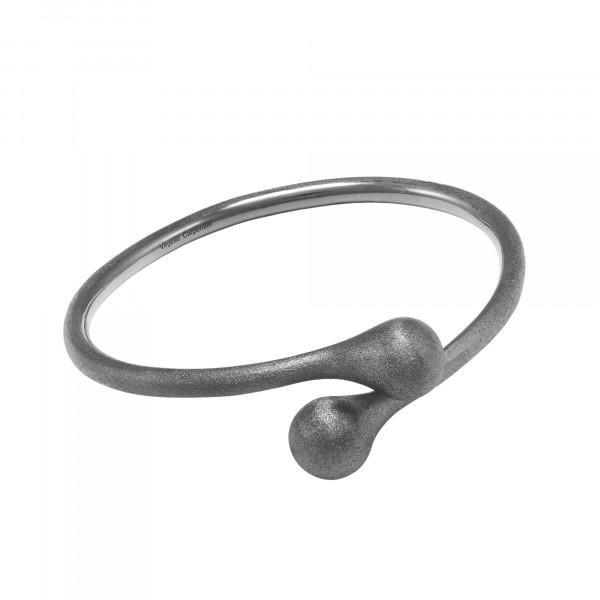 Open Wallet, bracelet jonc Toi & Moi, fermoir porte-monnaie, argent massif rhodié noir (Taille M)
