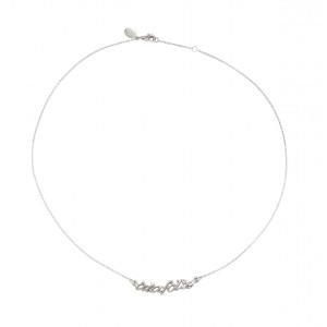 Collier, ras-de-cou, chaîne, 'à la folie', argent massif rhodié blanc, diamant blanc,