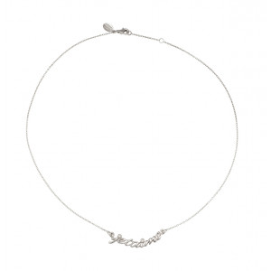 Collier, ras-de-cou, chaîne, 'je t'aime', or blanc, diamants blancs,