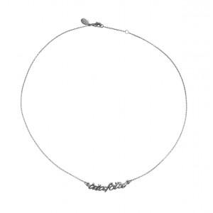 Collier ras de cou chaîne 'à la folie' or noir et diamant blanc