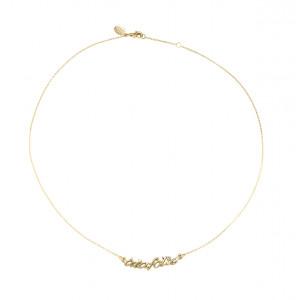 Collier, ras de cou chaîne, 'à la folie', or jaune, diamant blanc,