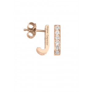 Pills boucles d'oreille dormeuses or rose, diamants blancs
