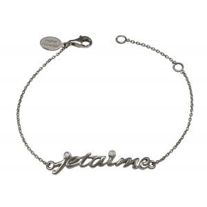 Bracelet, chaîne, 'Je t'aime', or noir, diamants blancs,