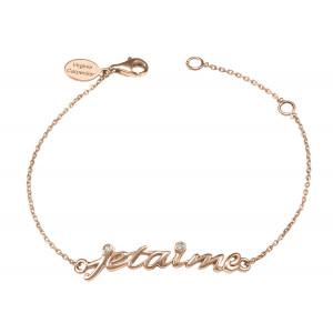 Bracelet, chaîne, 'Je t'aime', or rose, diamants blancs,