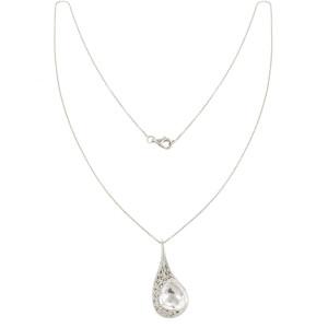 'La larme du Crocodile' collier chaîne, pendentif filigrane or blanc, cristal de roche facetté taille poire, diamants blancs