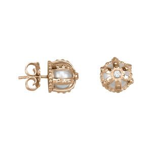 Princesse Tipois boucles d'oreille puces, couronnes, argent massif plaqué or rose, perle d'eau douce, pierre synthétique Swarovski blanche